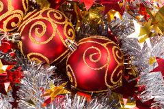 Tinsel Christmas ball Stock Photography