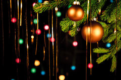 Tinsel christmas balls and lights Royalty Free Stock Photo
