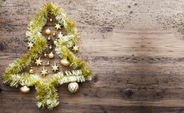Tinsel Christmas Tree, espaço da cópia imagem de stock