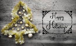Tinsel Christmas Tree, Typografie, frohe Feiertage Lizenzfreies Stockbild