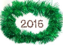 Tinsel framed new year greeting card. Royalty Free Stock Photo