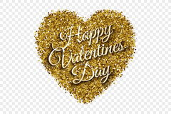 Tinsel Heart Vetora Background brilhante dourada Imagens de Stock