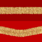 Tinsel pattern. Two golden tinsel patterns on red backgrounds Stock Image