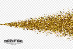 Tinsel Square Particles Vector Background brillante d'or Illustration Stock