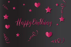 Tinsel and stars Happy Birthday set for cards and gift paper. Lettering stock illustration