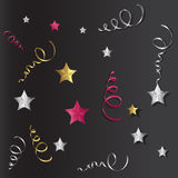 Tinsel and stars set for cards and gift paper Royalty Free Stock Photography