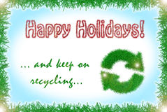 Tinsel style winter holidays greeting card. In red, blue, green and white with recycling logo Stock Photos