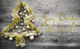 Tinsel Tree, Kalligraphie, frohe Weihnachten und guten Rutsch ins Neue Jahr Stockfotos