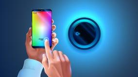 Tint app op telefoon aan controle slimme lamp wordt gebruikt in slim huissysteem dat Handen die smartphone houden, veranderend kl vector illustratie