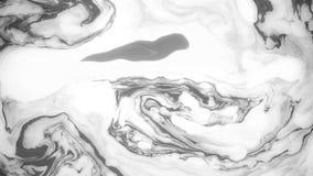 Tinta abstracta de la pintura en el movimiento Cantidad psicodélica del fondo Puntos blancos y negros metrajes