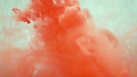 Tinta alaranjada na água Movimento lento criativo Em um fundo branco vídeos de arquivo