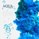 Tinta azul de la aguamarina en plantilla del agua con las burbujas imagen de archivo
