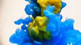Tinta azul en agua Cámara lenta creativa En un fondo blanco almacen de metraje de vídeo