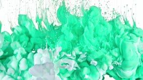 Tinta branca e verde na água Imagens de Stock