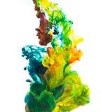 Tinta colorida isolada no fundo branco Imagem de Stock Royalty Free