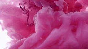 A tinta cor-de-rosa deixou cair na água no fundo branco filme
