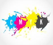 A tinta de CMYK espirra o logotipo ilustração royalty free