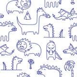 A tinta de Dino rabisca o teste padrão sem emenda do vetor Imagem de Stock Royalty Free