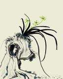 Tinta de piedra de la orquídea que pinta la pintura decorativa ilustración del vector