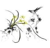 Tinta de piedra de la orquídea de la urraca que pinta la pintura china ilustración del vector