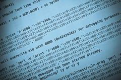 Tinta di programmazione dell'azzurro di codice Fotografia Stock