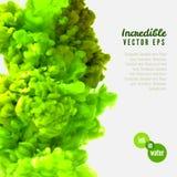 Tinta increíble del verde del vector en agua stock de ilustración