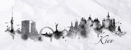 Tinta Kiev da silhueta ilustração stock