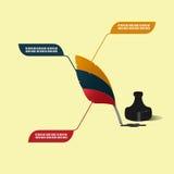 Tinta Pen Feather Info Graphic Vetora ilustração do vetor