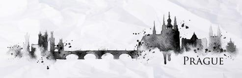 Tinta Praga de la silueta Imagen de archivo