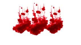 Tinta roja en un fondo blanco 3d rinden, con mate del luma, muchas inyecciones 2 de la tinta almacen de metraje de vídeo
