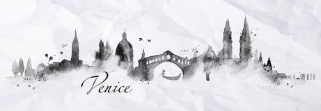 Tinta Veneza da silhueta Imagem de Stock