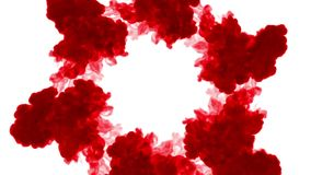A tinta vermelha dissolve-se na água no fundo branco com resíduo metálico do luma 3d rendem da simulação computorizada V2 muitos  filme