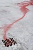 Tinta vermelha no esgoto Fotos de Stock Royalty Free