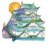 Tinta y watercolour del castillo de Hiroshima stock de ilustración