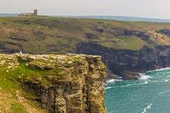 Tintagel海岛和圣Materiana ` s看法教会在背景中 免版税库存照片