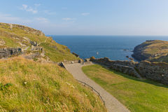 Tintagel Castle North Cornwall England Stock Photos