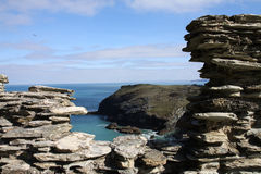 Tintagel Castle view stock photography