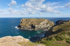 Tintagel island Cornwall from coast path Stock Photos