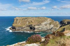 Tintagel island Cornwall from south west coast path Stock Image