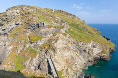 Tintagel Island with part of the Norman Castle Cornwall England Royalty Free Stock Photos