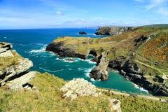 Tintagelkasteel Cornwall Engeland Stock Foto