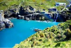 Tintagelkasteel, Waterval, Cornwall, Engeland, het UK Stock Afbeelding