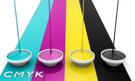 Tintas del líquido de CMYK Fotografía de archivo libre de regalías