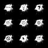 Tinte plätschern, die Internet-Ikonen, die auf schwarzen Hintergrund eingestellt werden Stockfoto