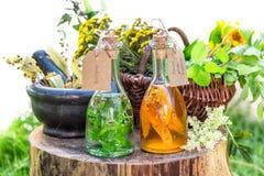 Tinte sano con las hierbas y el alcohol foto de archivo