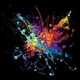 Tinte Splatter-Regenbogenschwarzes Stockbild