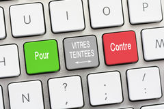 Tinted glass question and answer For and Against in French. Tinted glass question and answer For and Against on a white keyboard Stock Photos