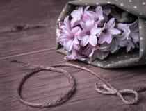 Tinted image on hyacinth blossom. On wood Stock Photos