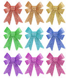 Tinted pastel colors glitter gift bow set Royalty Free Stock Photography