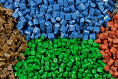 Tinted plastic pellets Royalty Free Stock Photo